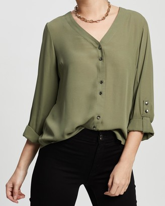 Dp Petite Plain Roll Sleeve Shirt