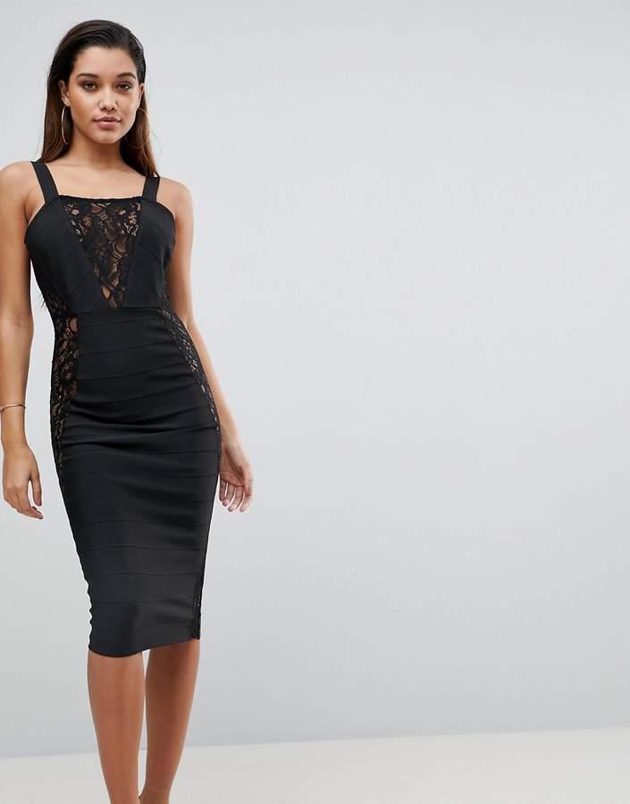 PrettyLittleThing Lace Detail Bandage Dress
