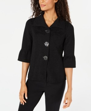 JM Collection Textured Bell-Sleeve Jacket, Created for Macy's
