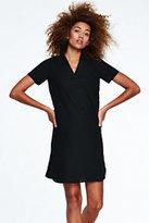 Lands' End Women's Linen V-neck Dress-Light Umber
