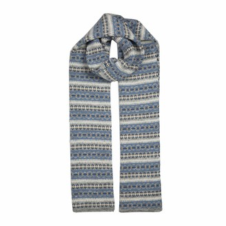 Dents Fair Isle Striped Pattern Knitted Scarf in Dove Grey