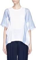 Sacai Asymmetric stripe panel linen blend T-shirt