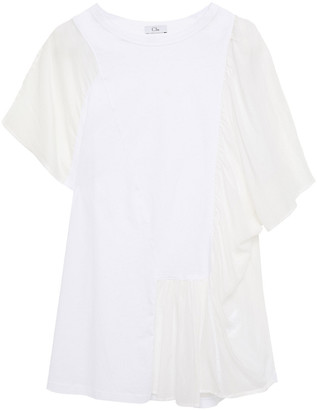 Clu Gathered Cotton-jersey And Cotton And Silk-blend Voile Top