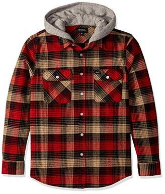 Brixton Men's Bowery Standard FIT Hooded Long Sleeve Flannel Shirt