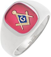 US Jewels And Gems Men's 14k Solid Back Gold Masonic Freemason Mason Ring with Red Simulated Stone (Size 12)