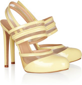 Patent-leather and mesh slingbacks