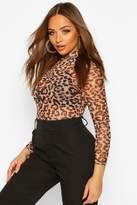boohoo High Neck Leopard Body