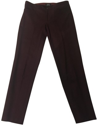 A.P.C. Burgundy Wool Trousers for Women