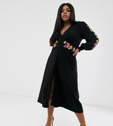Asos DESIGN Curve long sleeve maxi embroidered tea dress