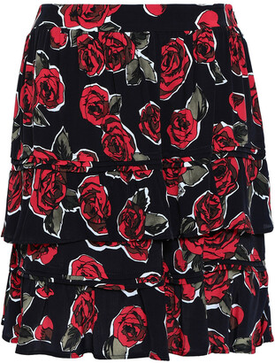 Love Moschino Tiered Floral-print Woven Mini Skirt