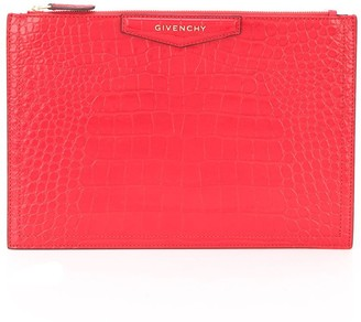 Givenchy Embossed Crocodile Effect Clutch Bag