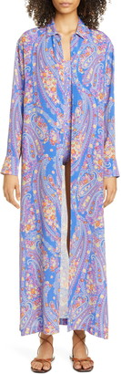 Etro Paisley Long Sleeve Caftan Cover-Up