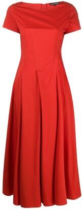 Luisa Cerano Pleated Short-Sleeved Dress
