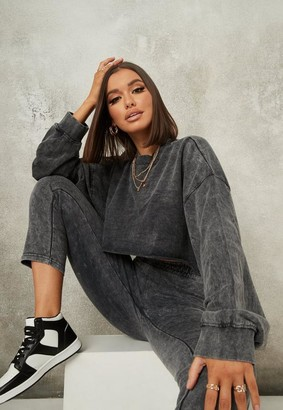 Missguided Petite Gray Crop Sweatshirt And Jogger Co Ord Set