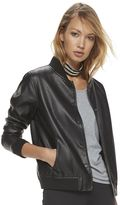 Madden NYC Juniors' Perforated Faux-Leather Jacket