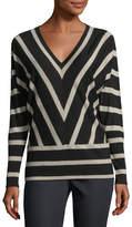 Lafayette 148 New York Striped Wool Dolman-Sleeve Sweater
