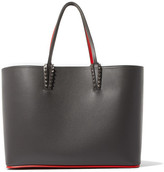 Christian Louboutin Cabata Two-tone Leather Tote - Dark gray
