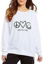 Peace Love World Crew Neck Long Sleeve Top