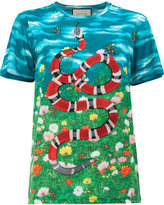 Gucci sky and garden print t-shirt - women - Cotton/Polyester - XS