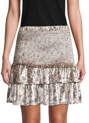 Allison New York Floral Velvet Mini Skirt