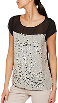 Mint Velvet Petal Sequin Layer Top, Black/Multi