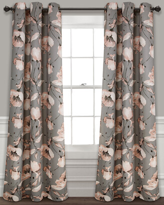 Triangle Home Fashion Delsey Floral Absolute Blackout Window Curtain Panels