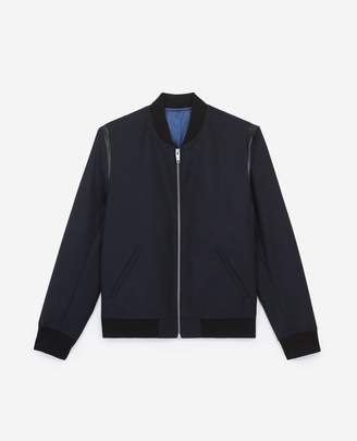 The Kooples Leather detail blended blue rock-style wool jacket