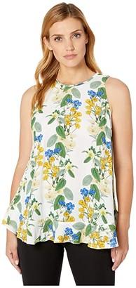 Karen Kane Ruffle Hem Tank (Floral Print) Women's Clothing