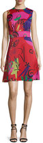 Etro Sleeveless Graffiti-Print A-Line Dress, Red/Pink