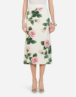 Dolce & Gabbana Midi Pencil Skirt In Tropical Rose Print Charmeuse