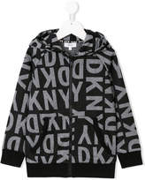 DKNY logo printed hooded jacket