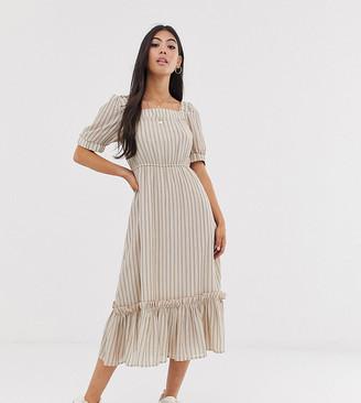 Y.A.S Petite stripe square neck tiered midi dress