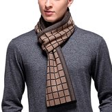 PENAGY Men Winter Warm Fashion Scarves Wool Soft Luxurious Scarf Wraps-Black&Coffee