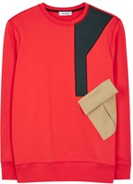 Tim Coppens Red Contrast-pocket Cotton Sweatshirt