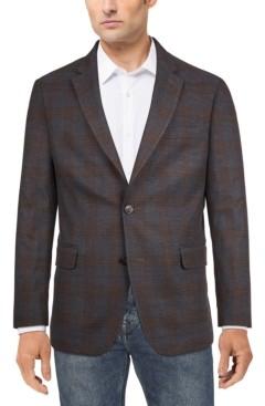 Tommy Hilfiger Men's Modern-Fit Charcoal/Brown Plaid Sport Coat