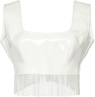 ROWEN ROSE Pearl-Fringed Cropped Vinyl Top