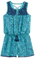 My Michelle Girls 7-16 Patterned Lace Front Romper