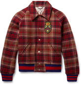 Gucci Appliquéd Checked Wool and Cotton-Blend Felt Bomber Jacket
