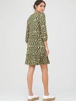 Very Curved Seam V Neck Mini Dress - Green