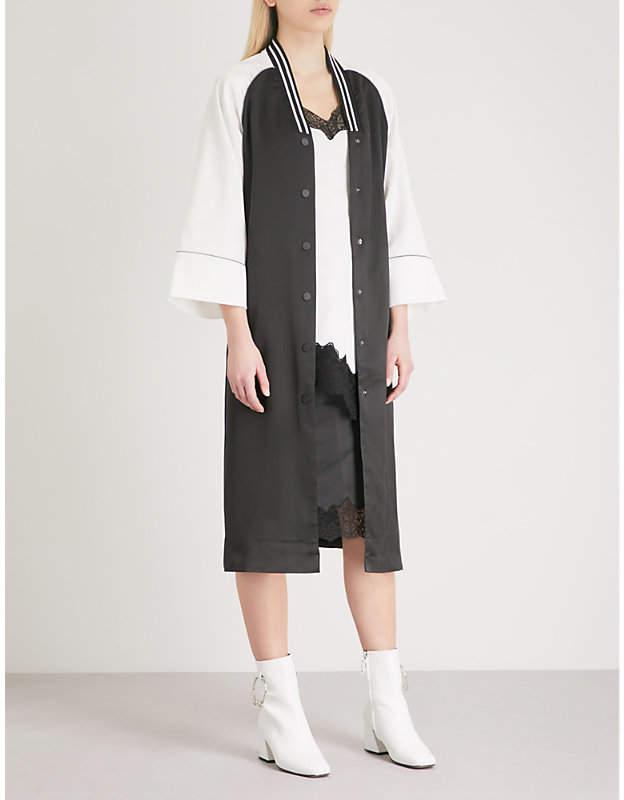 Mo&Co. Contrast-sleeve satin jacket