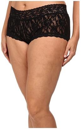 Hanky Panky Plus Size Signature Lace Solid New Boyshort (Black) Women's Underwear