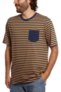 Distortion Short Sleeves Yarn Dye Crew Neck with Stripes T-Shirt