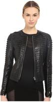 Philipp Plein Layered Element Leather Jacket Women's Coat