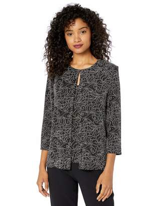 Alex Evenings Women's Jewel Neckline Glitter Knit Twinset (Regular and Petite)