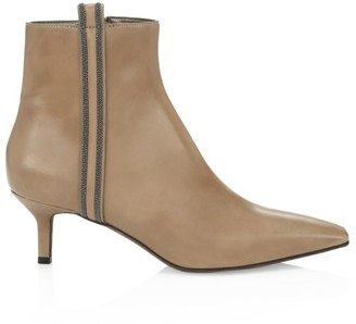 Brunello Cucinelli Monili-Trimmed Square-Toe Leather Ankle Boots