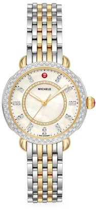Michele Sidney Classic Two-Tone Yellow Goldplated Stainless Steel & Diamond Bracelet Watch