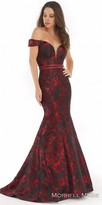 Morrell Maxie Off the Shoulder Embellished Waistband Trumpet Evening Dress