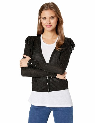 Cupcakes And Cashmere Women's iren Cadigan w/futter and Metallic Details