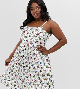 Yumi Plus floral spot print sun dress-White