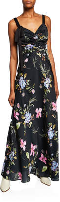 Jill Stuart Floral-Print Sleeveless Satin Gown with Tie Detail
